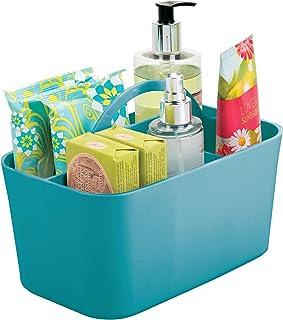 mDesign panier de salle de bain à poignée – rangement cosmétiques, cuisine ou range-torchons – petite boîte de rangement e...
