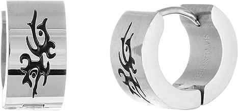 STEEL EVOLUTION Stainless Steel with Black IP Plating Tribal Design Huggie Hoop earrings for Men