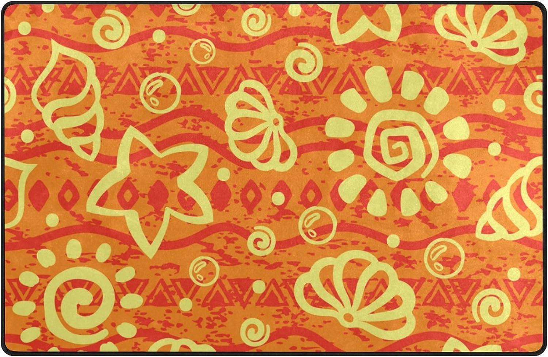 U Life orange Cute Ocean Sea Shells Starfish Large Doormats Area Rug Runner Floor Mat Carpet for Entrance Way Living Room Bedroom Kitchen Office 80 x 58 inch