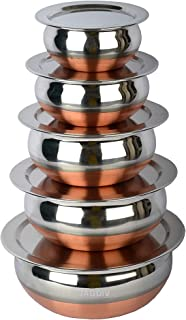 JAGDIV Stainless Steel Copper Base Gas Compatible 5 Handi Set with Lid (Variation : 500 ml, 800 ml, 1000 ml, 1200 ml, 1500...
