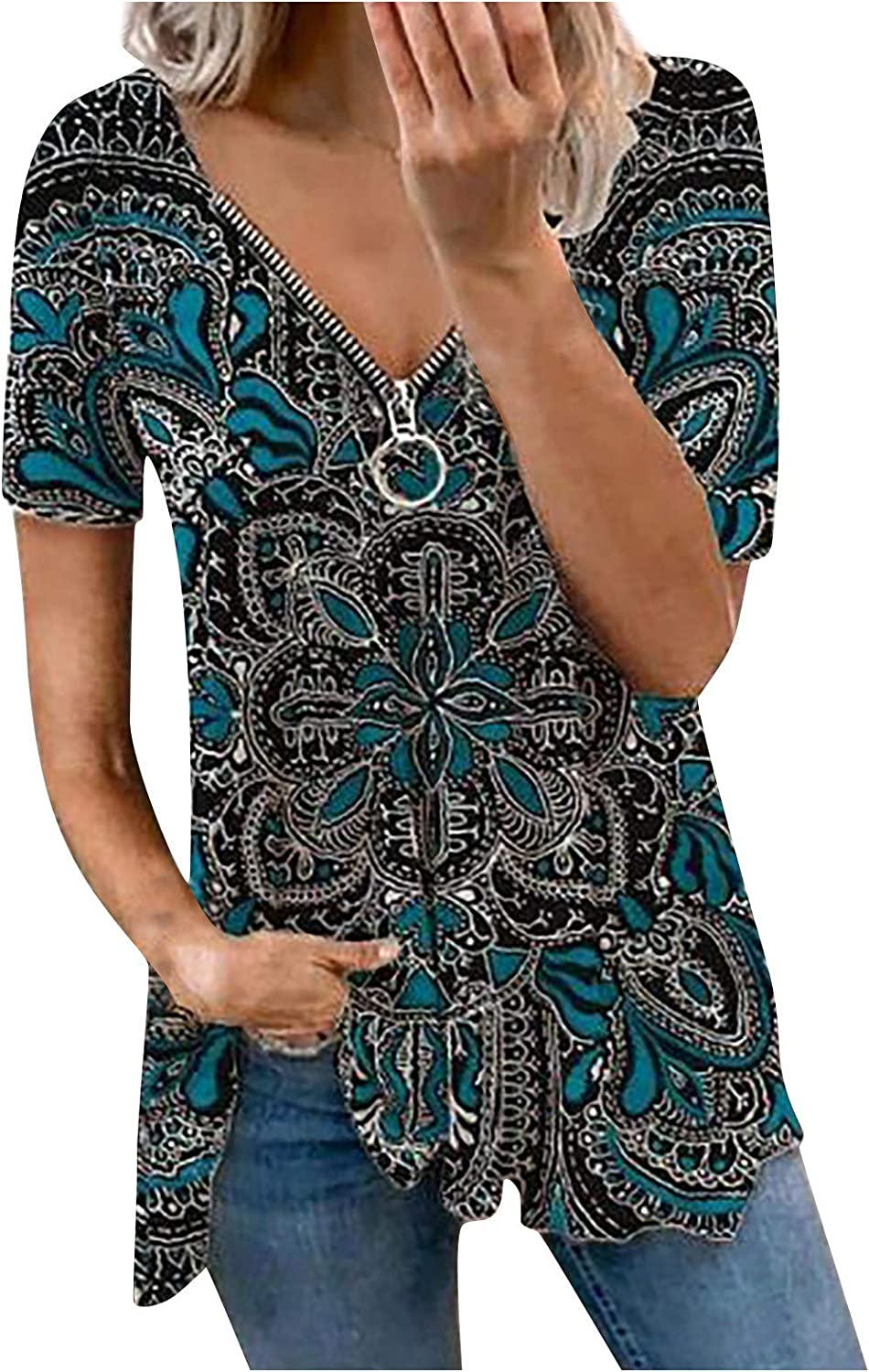 Litetao Women's Paisley Printed Pleated Blouse Shirt Casual Max 47% Ranking TOP7 OFF Zip