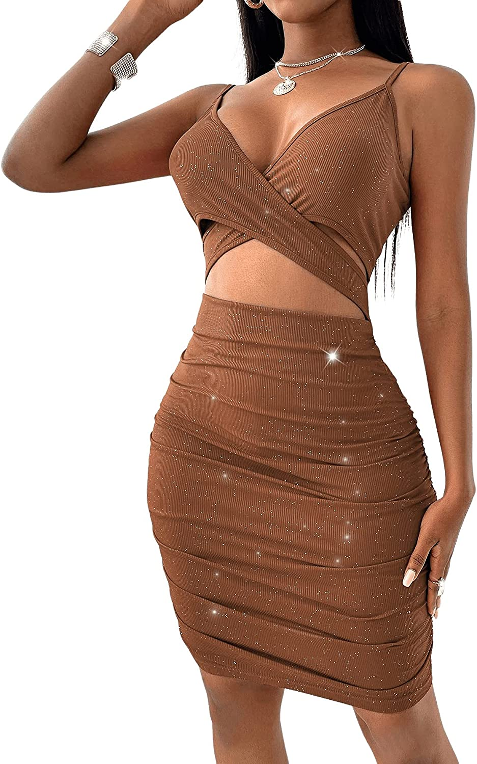 SOLY HUX Women's Criss Cross Cut Out V Neck Ruched Bodycon Mini Dress