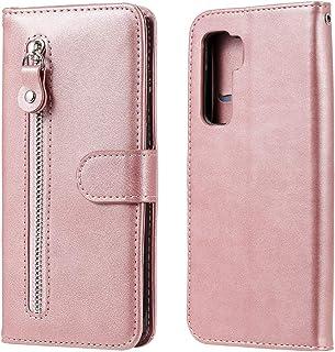 電話ケース Huawei P40 Lite/Nova 7 SEファッションカーフテクスチャージッパー水平フリップレザーケース、スタンド&カードスロット&ウォレット機能付き