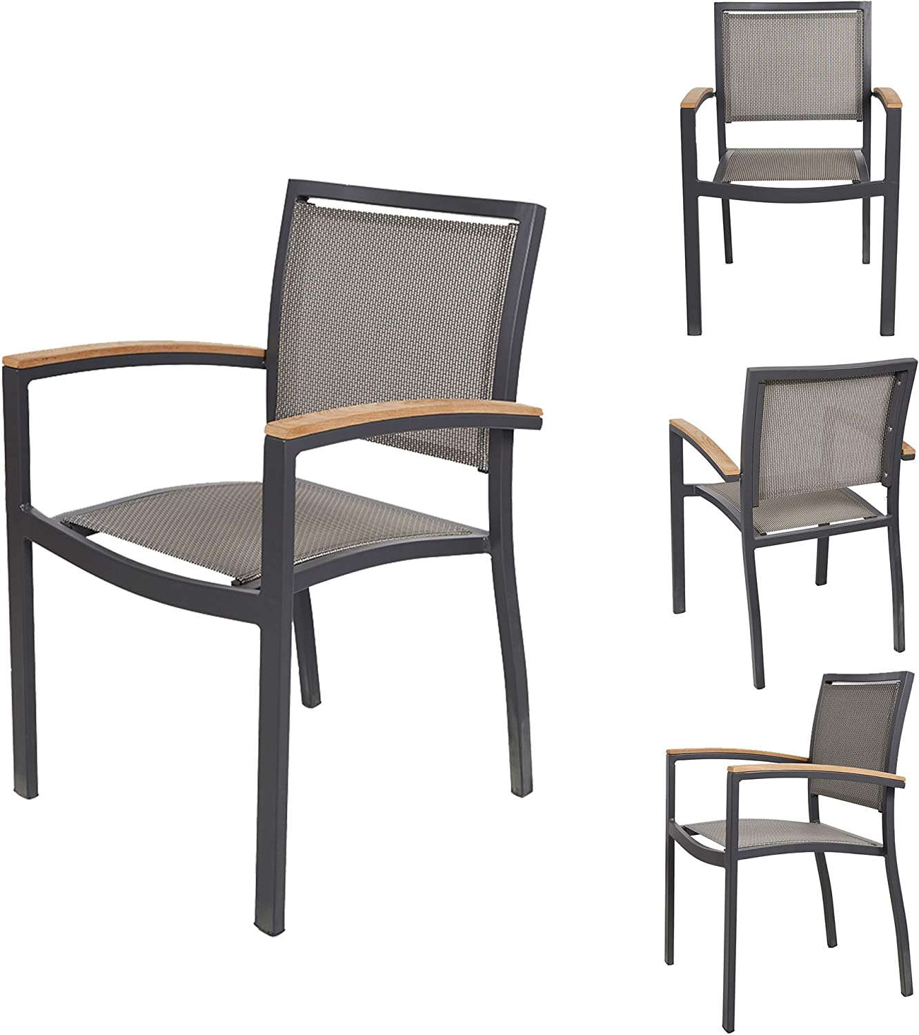 TRY & DO Patio Dining Chairs Set of 4,Outdoor Stackable Dining Chairs with Armrest Textilene Mesh Fabric Aluminum Frame Patio Furniture Sets for Garden, Balcony, Lawn and Indoors