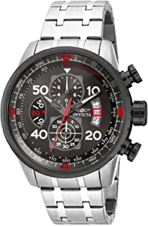 Men's Aviator 48mm Stainless Steel Chronograph Quartz Watch, Silver (Model: 17204)