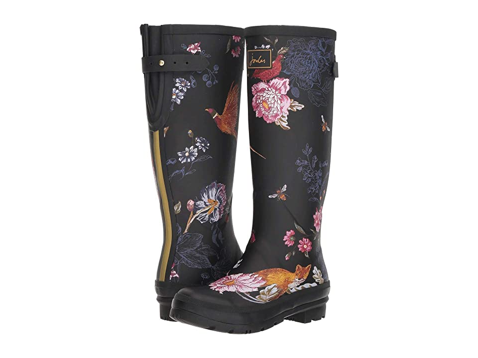 Joules Tall Welly Print (Black Woodland Floral) Women