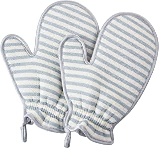 D DOLITY 2 Pack Rubbing Glove Body Scrub Shower Towel Exfoliating Scrub Bath Mitt Blue