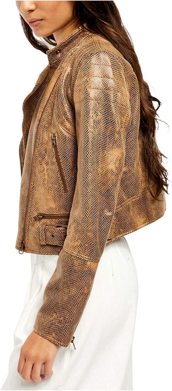 Free People Fenix Women's Faux Leather Embossed Snake Print Notch Collar Moto Jacket