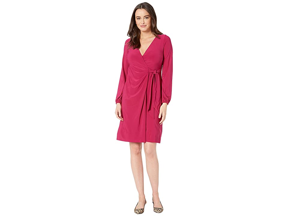 LAUREN Ralph Lauren 4R Matte Jersey Joni Long Sleeve Day Dress (Dark Primrose) Women