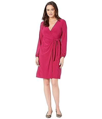 LAUREN Ralph Lauren 4R Matte Jersey Joni Long Sleeve Day Dress (Dark Primrose) Women