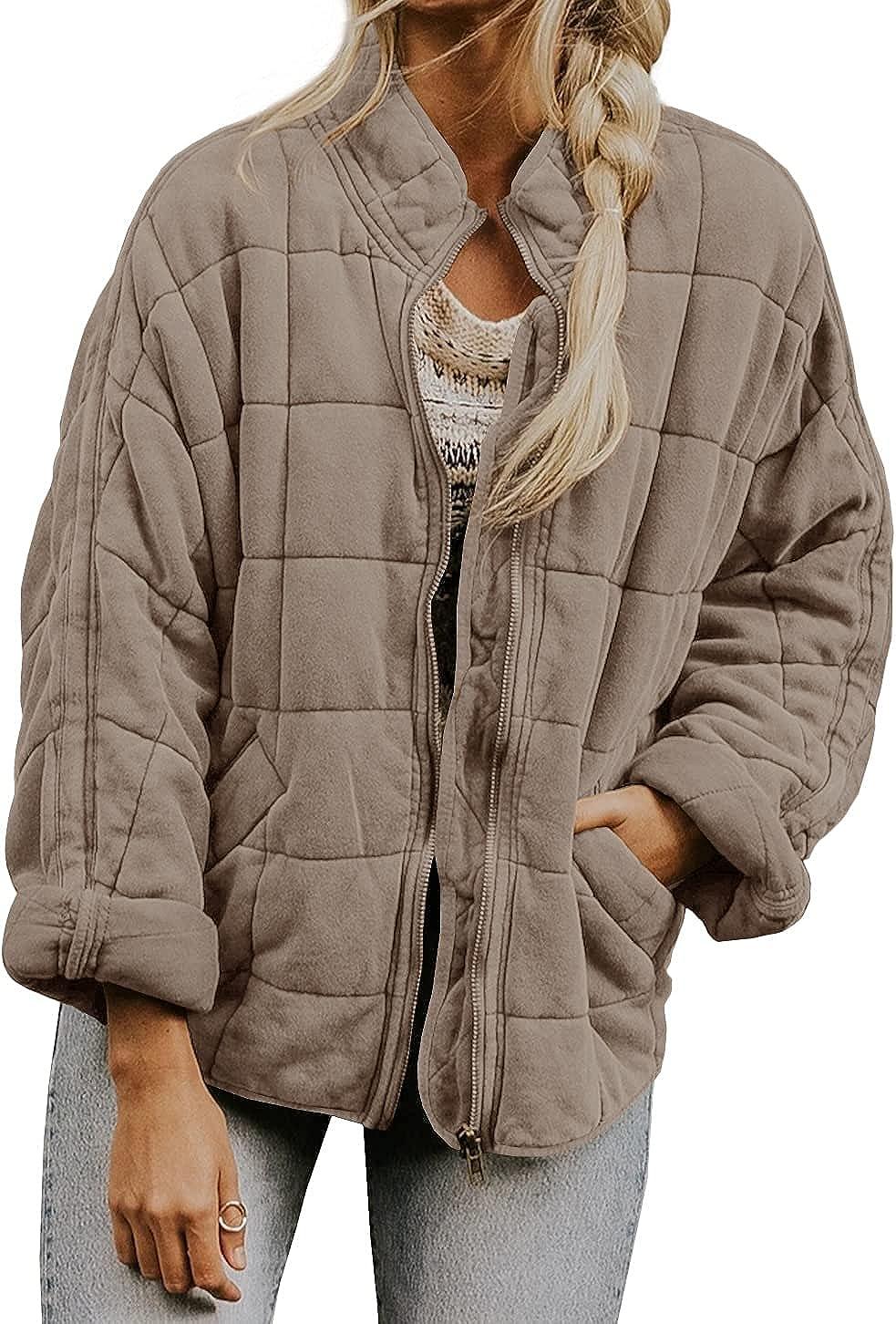 Autumn Winter Womens Dolman Lightweight Quilted Jackets Coat Stand Neck Long Sleeve Zipper with Pockets Outwear