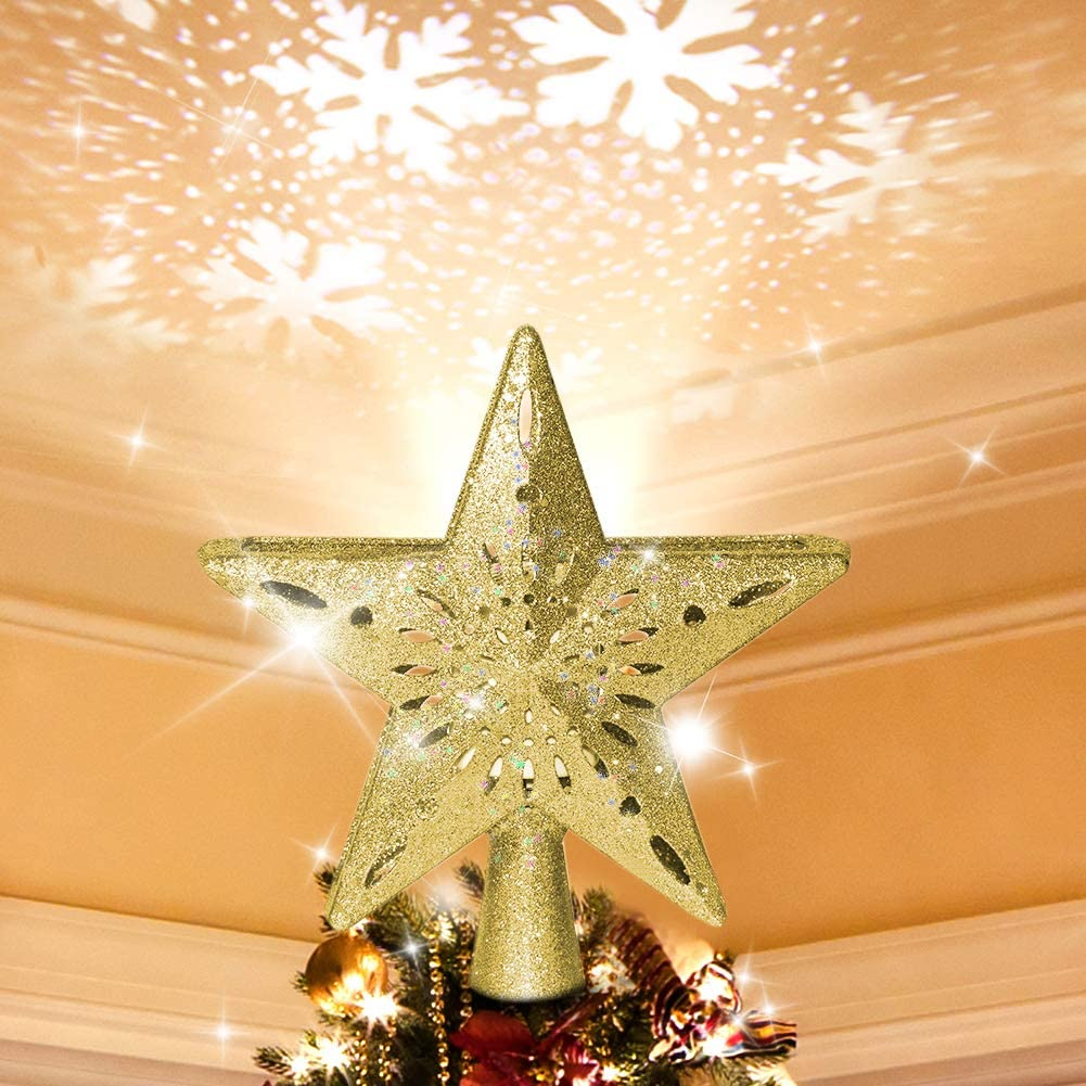 Tripod Christmas Tree Topper Lighted Superior specialty shop White with Snowflake Projec