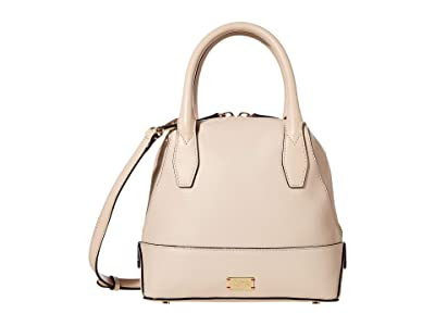 Frances Valentine Small Abby Tumbled Leather Dome Satchel (Oyster) Handbags