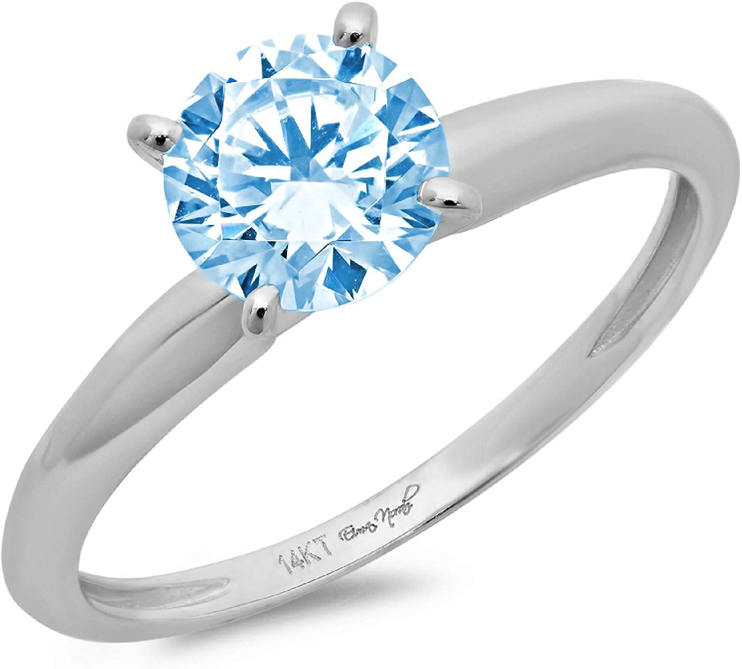 Clara Pucci 1.50 ct Brilliant Round Cut Solitaire Natural Sky Blue Topaz Gem 4-Prong Engagement Wedding Bridal Promise Anniversary Ring in Solid 18K White Gold for Women