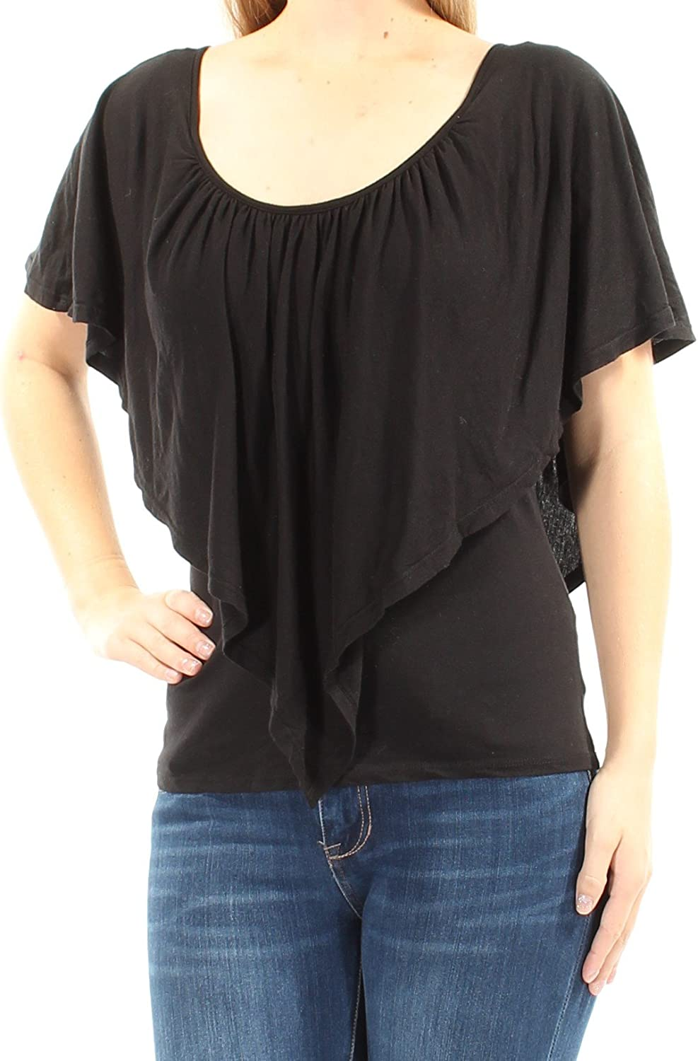 Chelsea Sky Womens Solid Open Back Blouse Black M