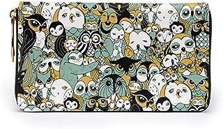 財布 フクロウの群れ柄 レディース メンズ 長財布 本牛革 大容量 カードケース スマホ入れ可 ラウンドファスナー ウォレット L字ファスナー小銭入れ 磁気防止 人気 RFID プレゼント