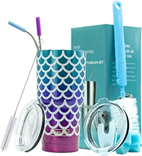 Yoelike 30 oz Stainless Steel Double Wall Vacuum Insulated Tumbler with 2 Straws, 2 Splash Proof Lid, 1 Cleaning Brush, 1 Straw Cleaning Brush (30 Oz, Mermaid)