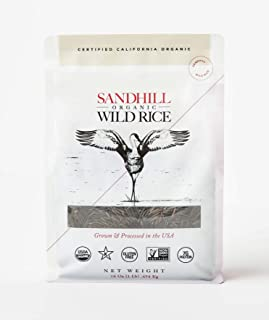 Sandhill Organic Wild Rice - 16 oz package, One Farm Sourced, Non-GMO, Gluten Free, Kosher Certified, Certified California...
