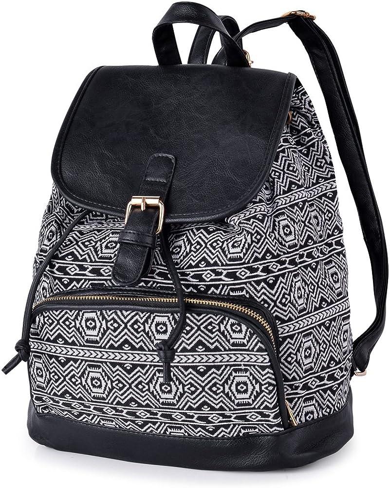 VBG VBIGER Canvas Backpack for Women Casual Shoulders Bag Travel Daypack Boho Bag
