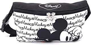 Disney Mickey Minnie Mouse Zippered Waist Fanny Pack Belly Bag for Travel Belt Bag (White Mickey)