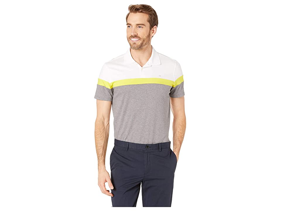 Calvin Klein Short Sleeve Color Blocked Button Placket Polo (Standard White Combo) Men
