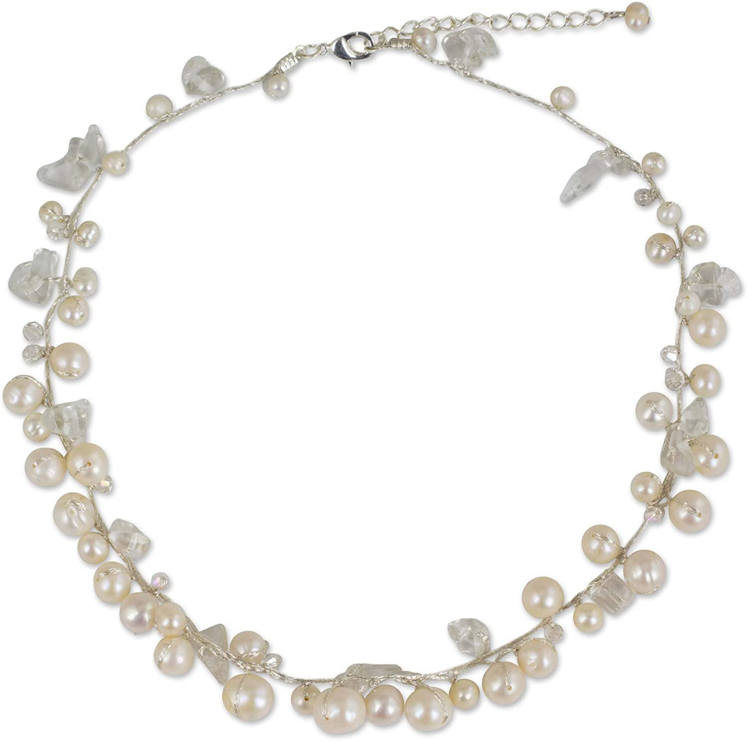 NOVICA Cultured Freshwater Pearl Strand Necklace White Color Oval Shaped, River of Snow'