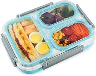 Thousanday Lunch Box Bambini|3 Scomparti e Posate Verde Ideale per Adulto per Microonde e Lavastoviglie