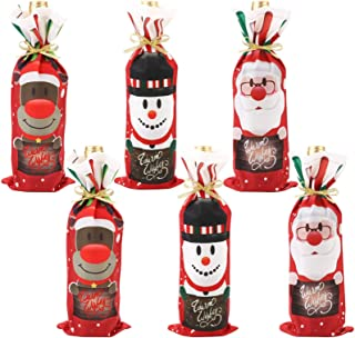 Christmas Decorations, TERSELY 6 PCS Christmas Wine Bottle Bags, Xmas Red Wine Bottle Cover Bags with Drawstrings Santa Sn...