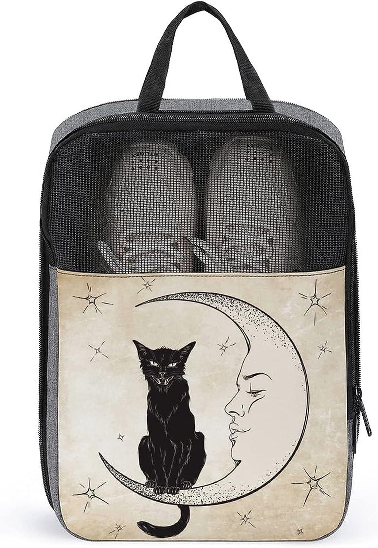 Black Cat Sitting Finally popular brand on Kansas City Mall The Moon Bag Shoes Print Storage Travel sli