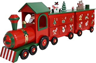 PIONEER-EFFORT 24 Inch Christmas Wooden Advent Calendar Train with Drawers for Adults Kids Christmas Countdown Decoration...