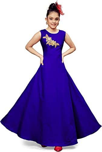 Girl s Fit and flare Maxi Frock Dress G flower Blue 11 12 years Blue 11 12 Years