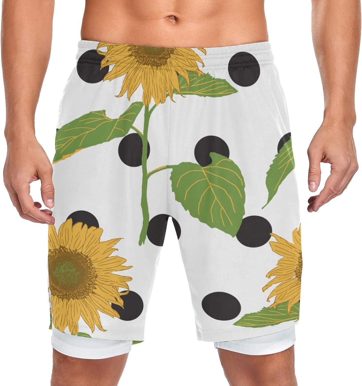 Running Shorts Blooming Sunflower Black Ranking TOP3 Dedication Men Dot W Training Sport