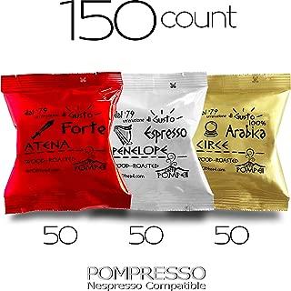 Caffe POMPEII - POMPRESSO - Nespresso Compatible Coffee Capsules for All Nespresso Original Line Machines (VARIETY 3, 150 capsules)