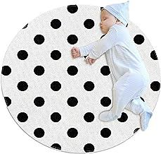 Svart polkaprickigt tyg, barn rund matta polyester överkast matta mjuk pedagogisk tvättbar matta barnkammare tipi-tält lek...