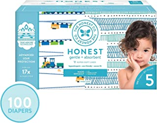 The Honest Company Super Club Box Diapers - Size 5 - Trains & Teal Tribal Print | TrueAbsorb Technology | Plant-Derived Materials | Hypoallergenic | 100 Count