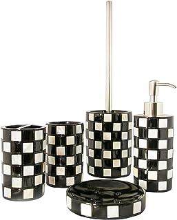 aus Keramik Holzoptik Badset MARRONE Seifenspender Seifenschale Zahnb/ürstenhalter Wattedose WC-B/ürste Hochwertiges Braunes 5-tlg