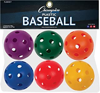 Champion Sports Plastic Baseball, Assorted Colors, Set of 6