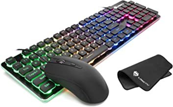 LANGTU Gaming Keyboard and Mouse Combo with Large Mouse Pad, Colorful LED Backlit Quiet Keyboard for Study, All-Metal Panel USB Wired 25 Keys Anti-ghosting Computer Keyboard 104 Keys - L1 Black