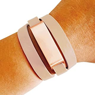 FUNKtional Wearables Fitbit Bracelet for Fitbit Flex Fitness Activity Trackers - The Kate Brushed Metal and Premium Vegan or Genuine Leather Buckle Wrap Fitbit Bracelet