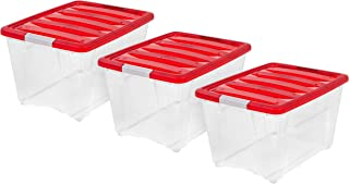 IRIS USA, TB-56D, Holiday Plastic Storage Tote, 53 Qt, Red, 3 Pack