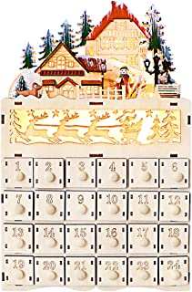 TOPNEW Wooden LED Christmas Sleigh Advent Calendar, 24 Opening Drawers Countdown to Traditional LED Wood Construction Christmas Holiday Decoration, 8.8