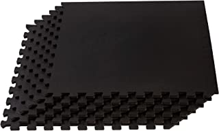 Velotas Interlocking Rubber Personal Fitness Mat,  EVA Foam Puzzle Floor Tiles,  for Home Gym Workouts and Bodyweight Exercises,  24 x 24,  3/8 Inch Thick,  Multiple Colors and Sizes,  Black