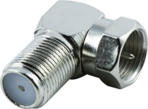 GE Right Angle F Connector, for Coax Connections, F-Type Connector, RG6, RG59, Audio, Video, Ideal for HDTV, TV Antenna, DVR, VCR, Cable Box, Home Theater, No Tools Required, Screw On, Nickel, 34483