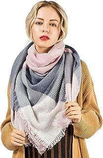Oversized Blanket Scarf Plaid Shawl Fashion Wrap Chunky Lightweight Warm Soft Tassel