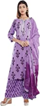 Sanganeri Kurti Women's Rayon Kurta Palazzo With Dupatta Set (Purple)