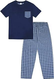 Mens Checked Woven Leg Long Pyjamas Blue