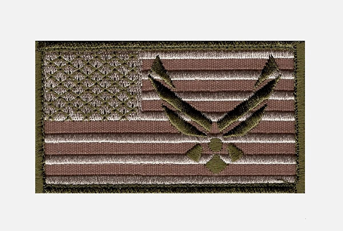Miltacusa USAF Logo USA Flag Embroidered Morale Hook Patch 3.5 X 2.0