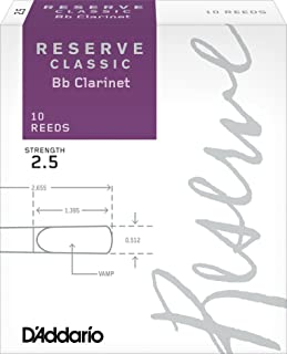 D'Addario Reserve Classic B♭ Clarinet Reeds, Strength 2.5 (10-Pack) – Thick Blank Reed Offers a Rich, Warm Tone, Exceptional Performance and Consistency – Ideal for Advanced Students or Professionals
