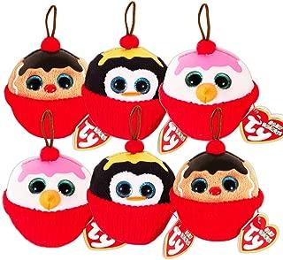 Penguin Gingerbread Man Sundae Ornaments Snowman Ty Beanie Babies Christmas Set of 6 Plush Holiday Ornaments