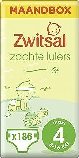 Zwitsal Maat 4 (Maxi) Zachte Luiers voor baby's van 8 tot 16 kg - 3 x 62 stuks - Maandbox